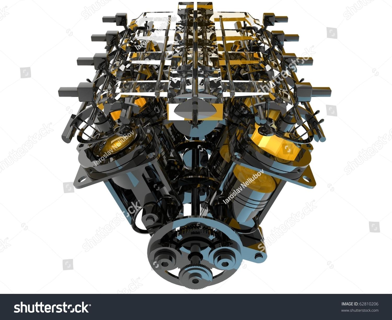 Stock Photo Internal Combustion Engine on Internal Bustion Engine Diagram