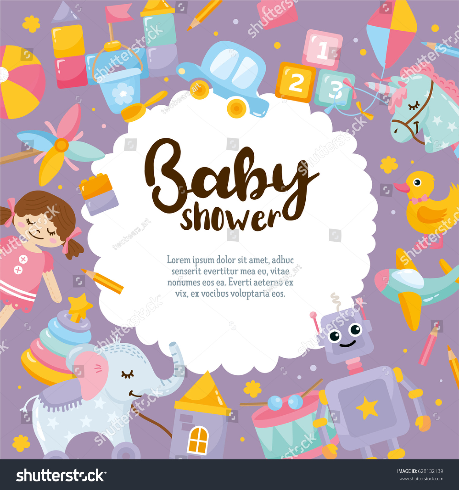 Baby Shower Cute Greeting Card Amazing Stock Vector Royalty Free