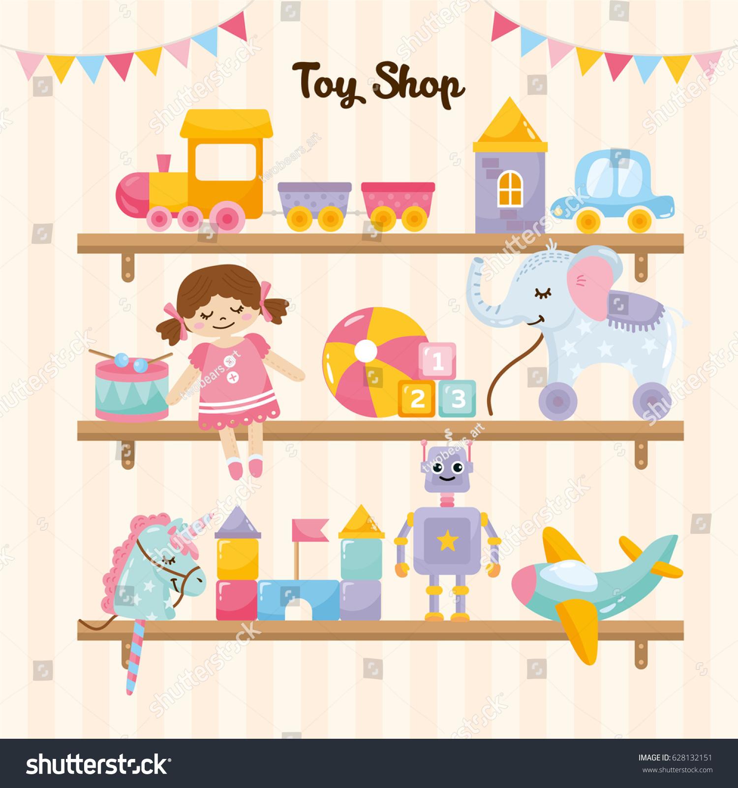 Kids Toys Shop Shelves Amazing Stock Vector