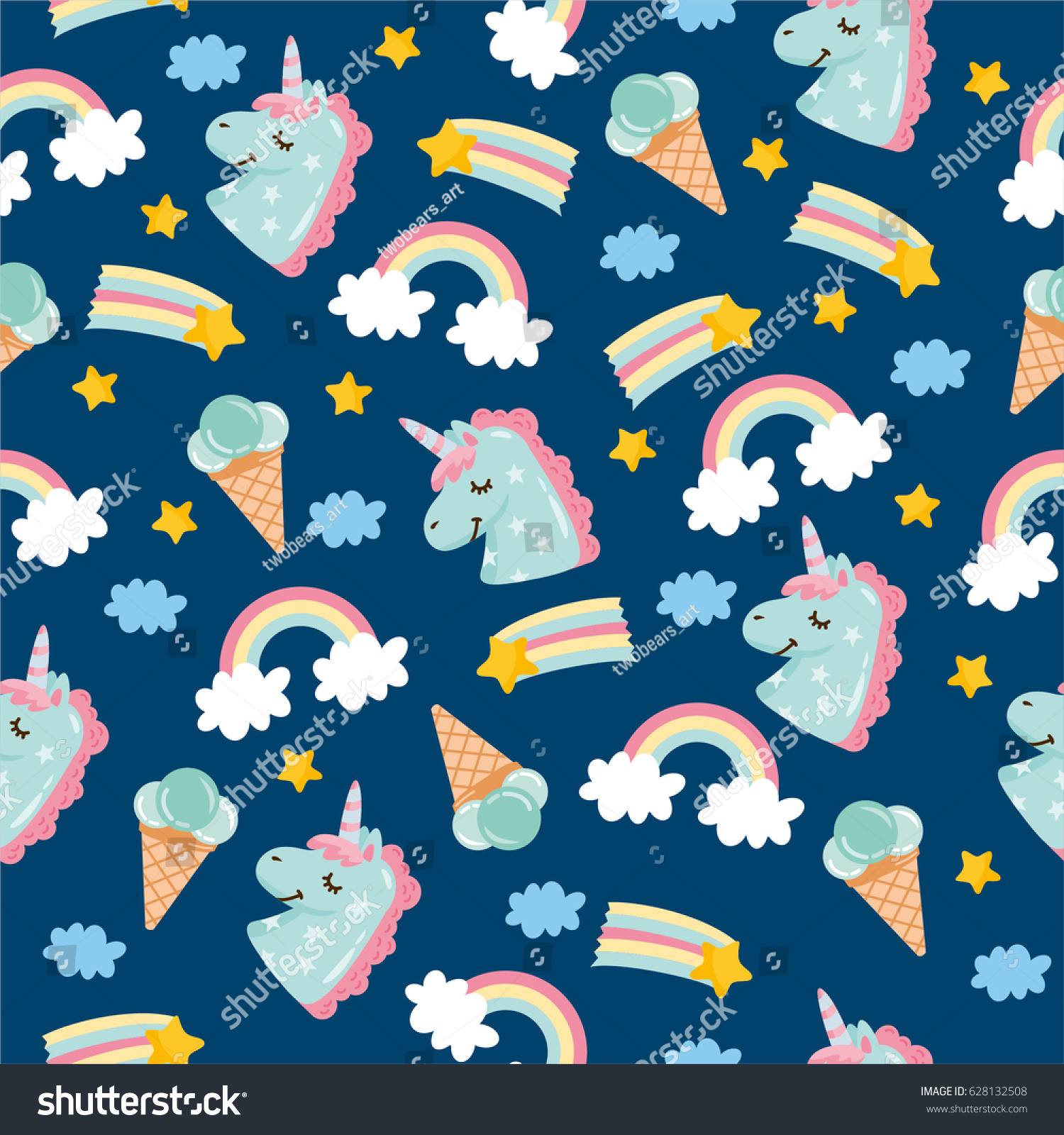 Pattern Cute Colorful Ice Cream Textiles Stock Vector: Seamless Pattern Cute Little Unicorn Ice Stock Vector