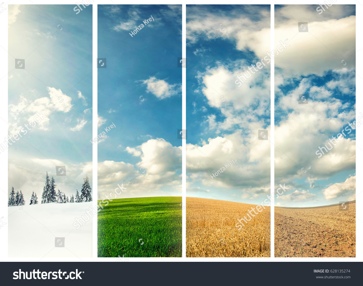 four seasons of year, winter, spring, summer and autumn, nature photo concept #628135274