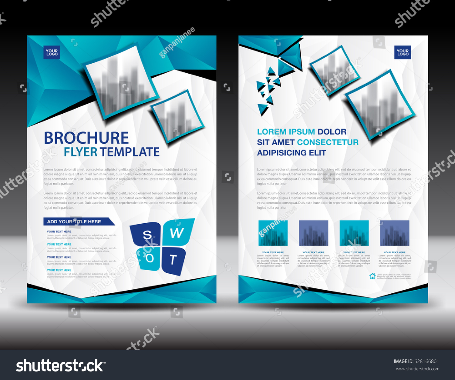 Business Brochure Flyer Templater Blue Cover Stock Vector 628166801 ...