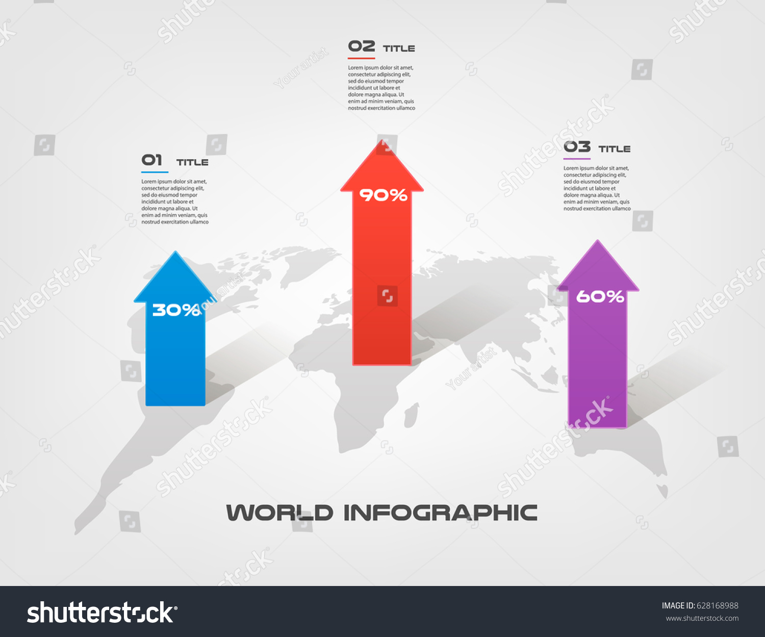 World map arrow growth infographics step stock vector 628168988 world map arrow growth infographics step by step in a series of circle element of gumiabroncs Image collections