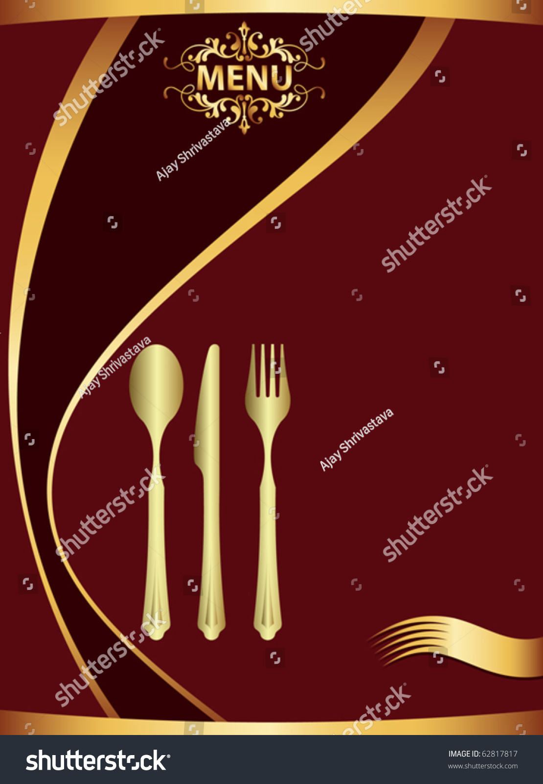 Menu Card Template Stock Vector 62817817 - Shutterstock