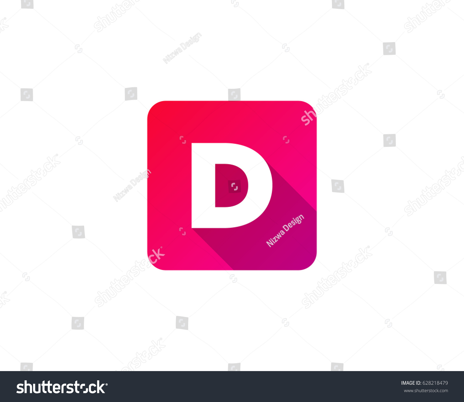 Square Color Gradient Letter D Icon Stock Vector (Royalty Free ...