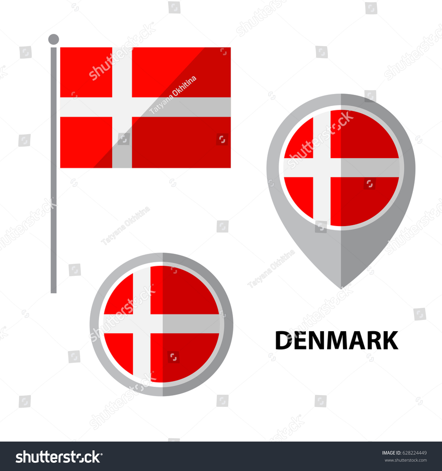 set denmark flag map pointer icon stock vector 628224449
