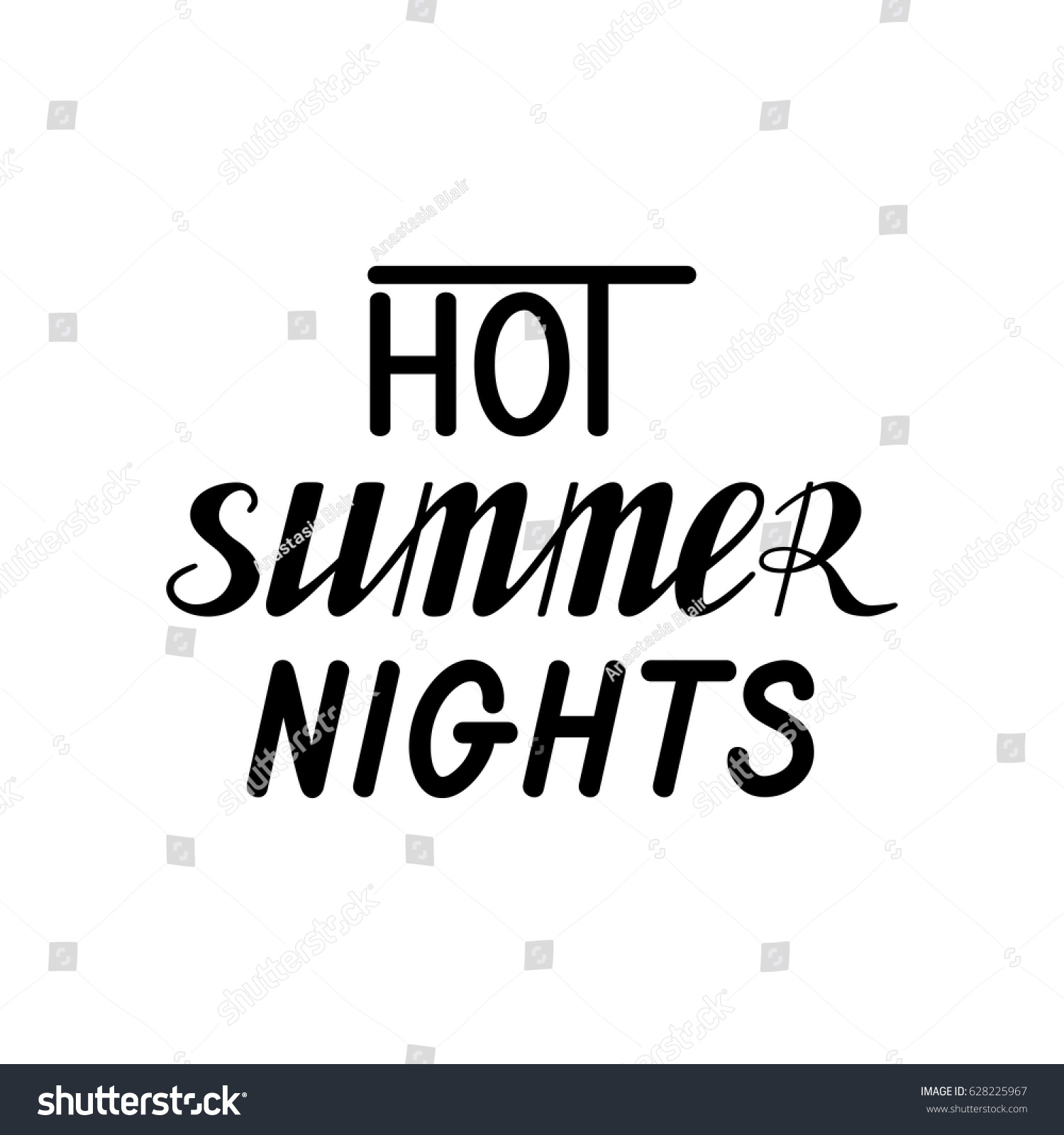 Incroyable Hot Summer Nights Hand Written Lettering Made In Vector. Poster, Card,  Banner,