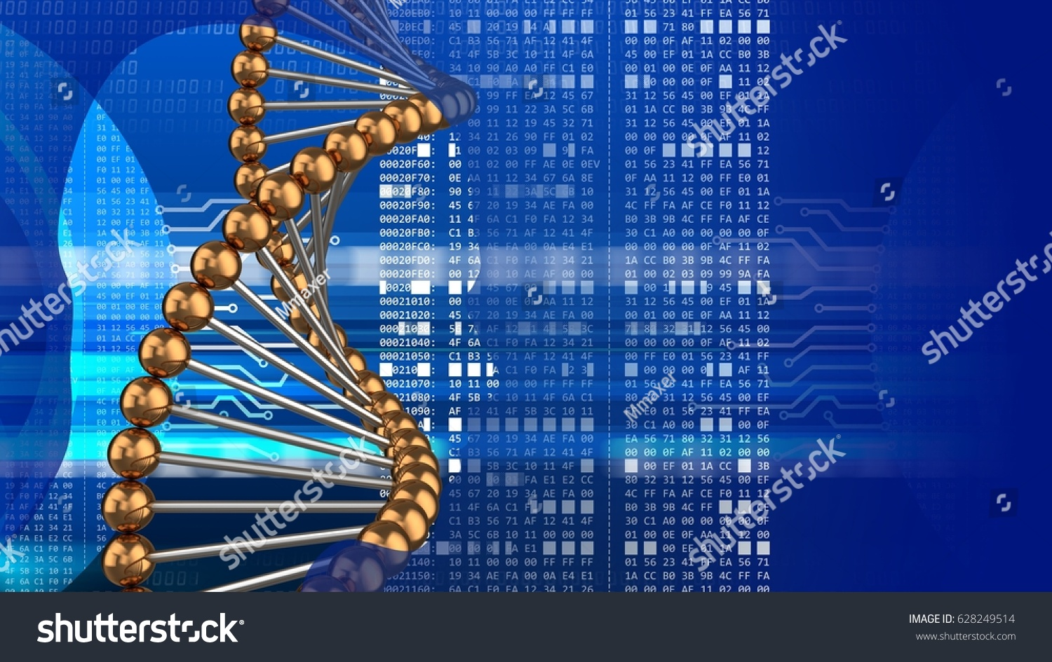 Abstract 3d digital background dna structure stock illustration abstract 3d digital background with dna structure head silhouette and hexadecimal code ccuart Image collections