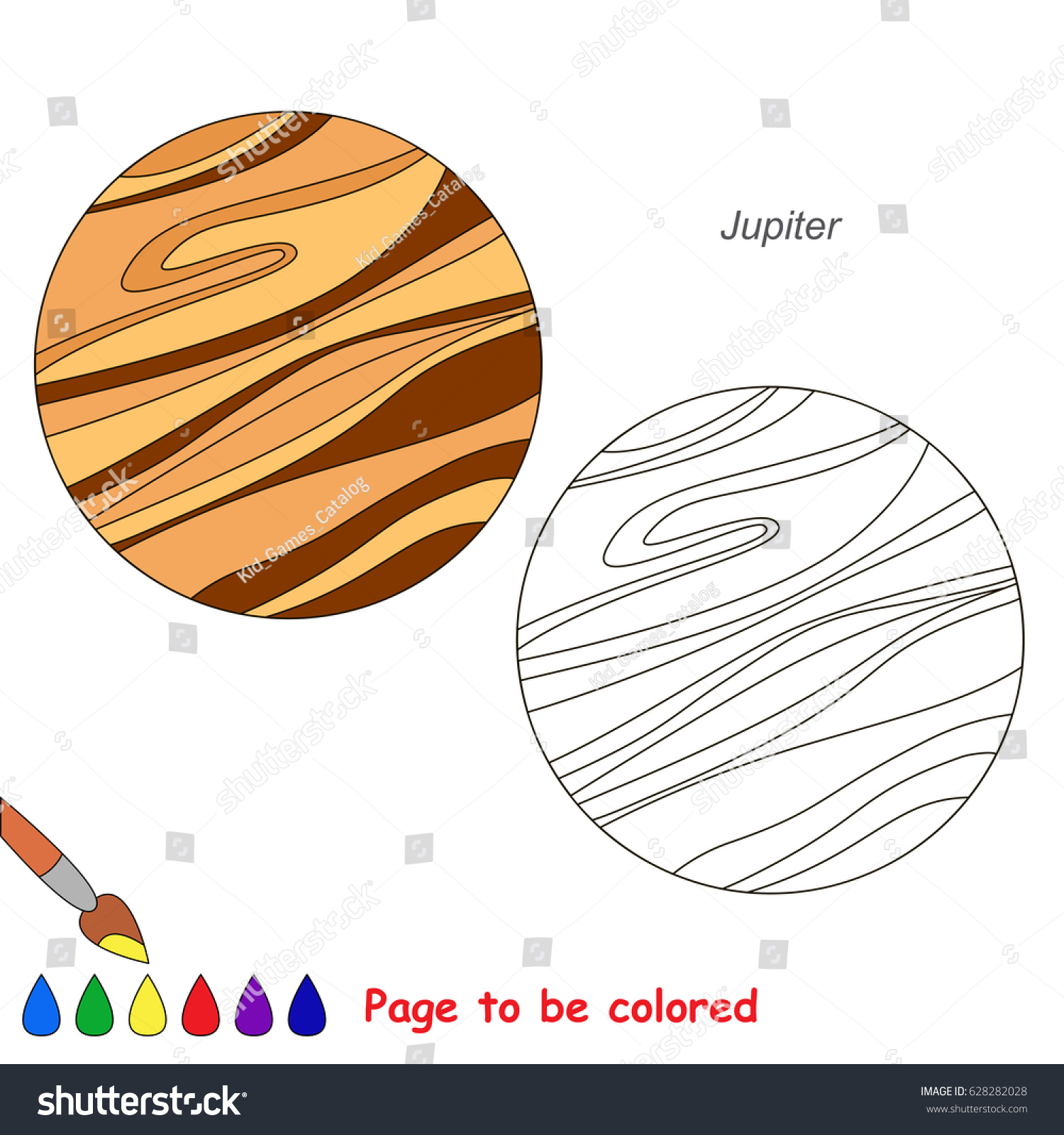 planet jupiter be colored coloring book stock vector 628282028