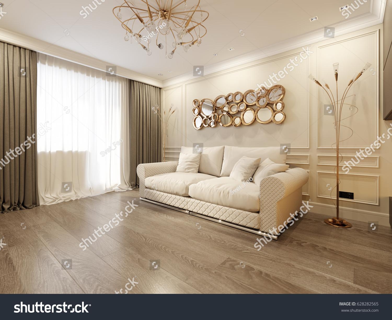Modern Classic Beige Living Room Interior Stock Illustration ...