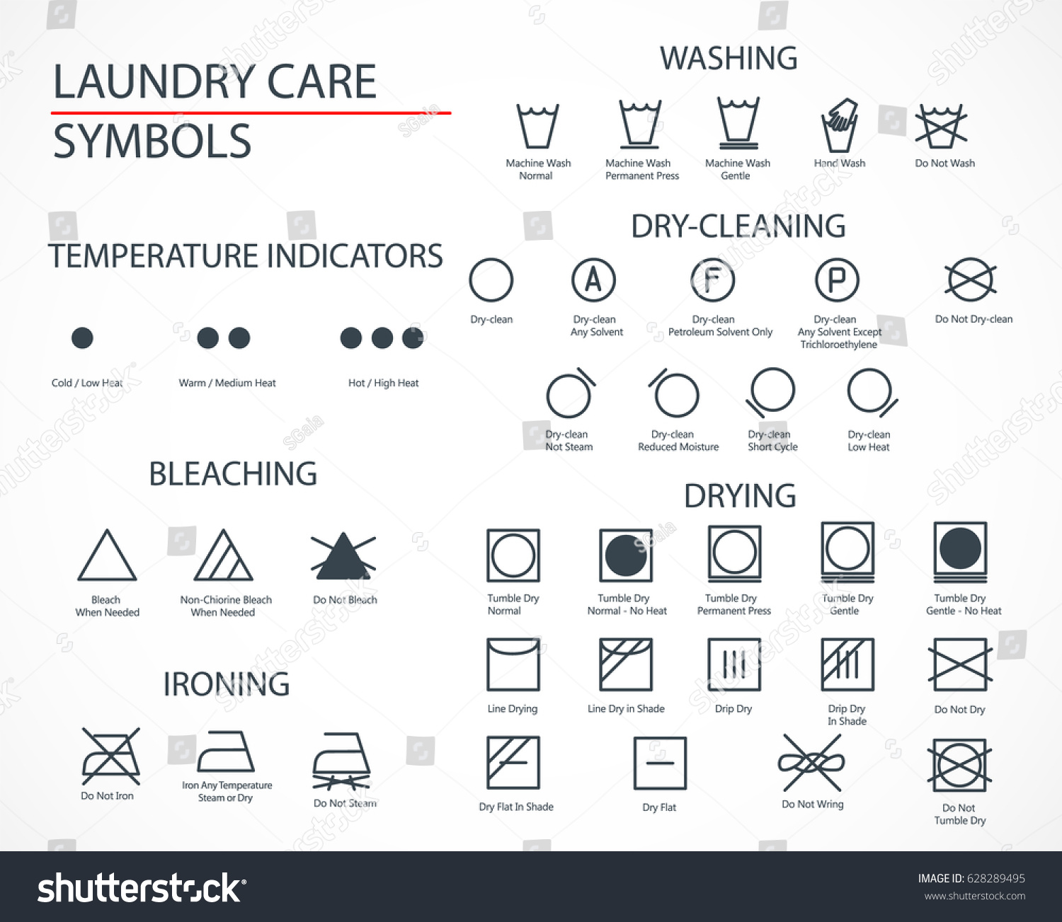 Washing Laundry Icons Set Flat Design Stock Vector 628289495