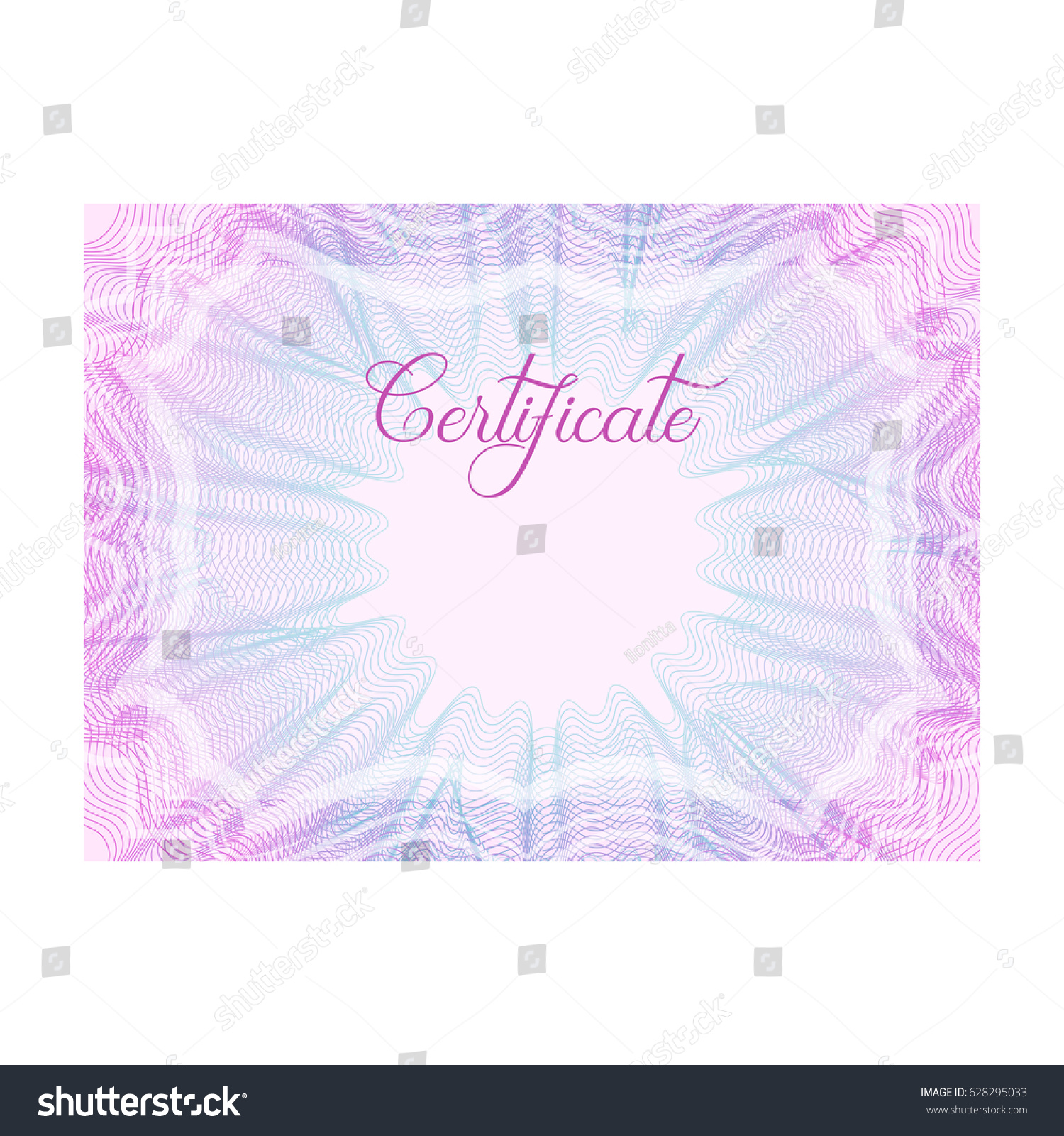 Pink Blue Horizontal Guilloche Certificate Template Stock Vector