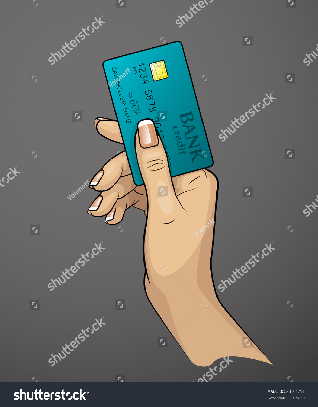 Woman Hand Painted Credit Card Carrying Stock Vector (2018 ...