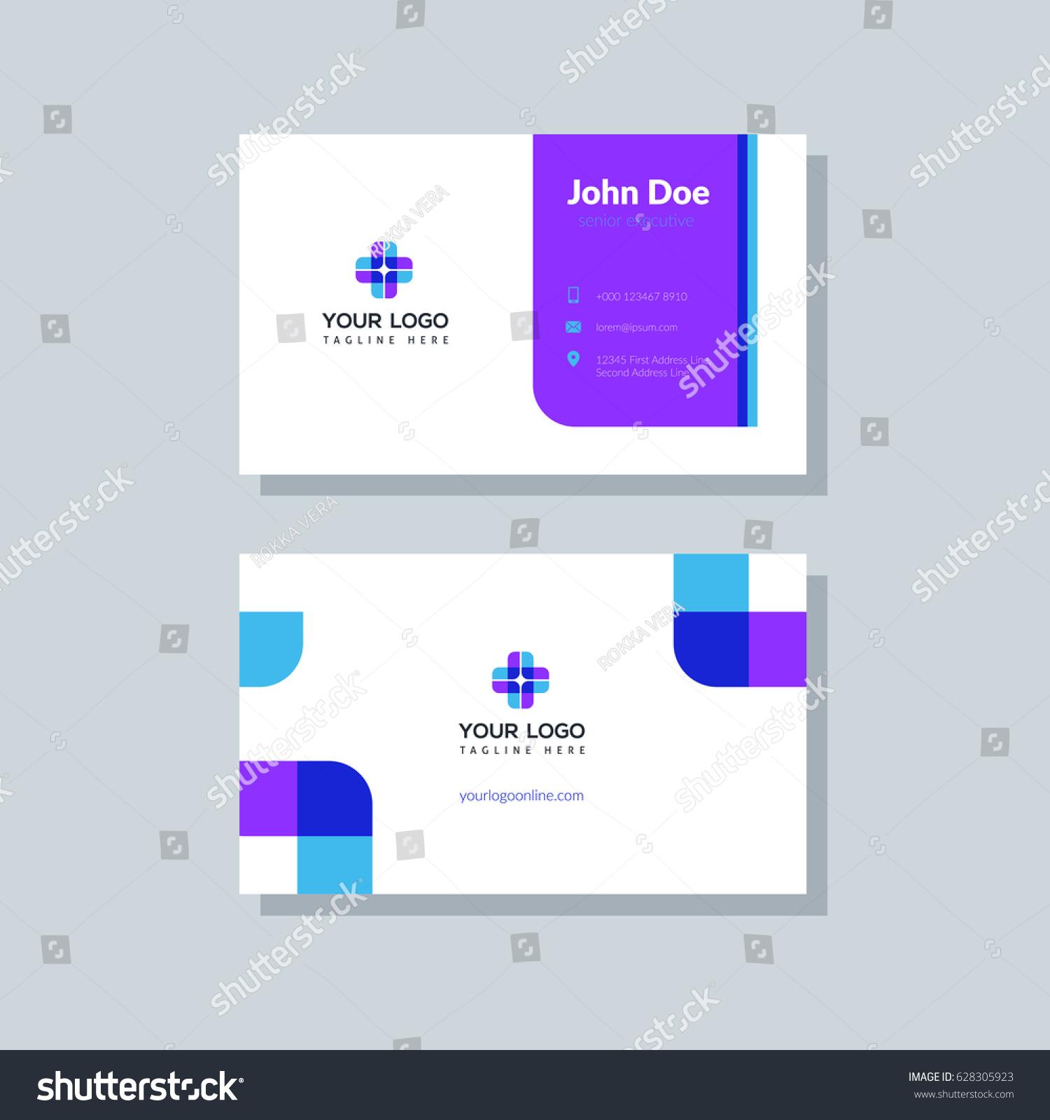 Modern Purple Business Card Template Flat Stock Vector 628305923 ...