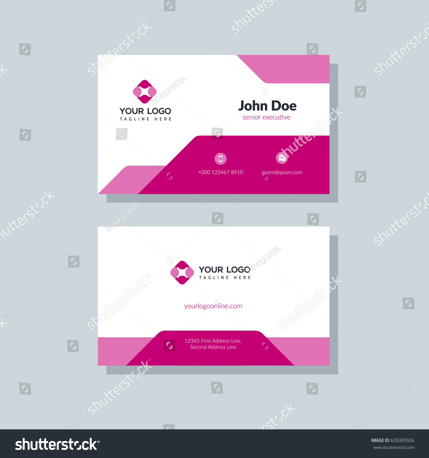 modern red business card template flat stock vector royalty free