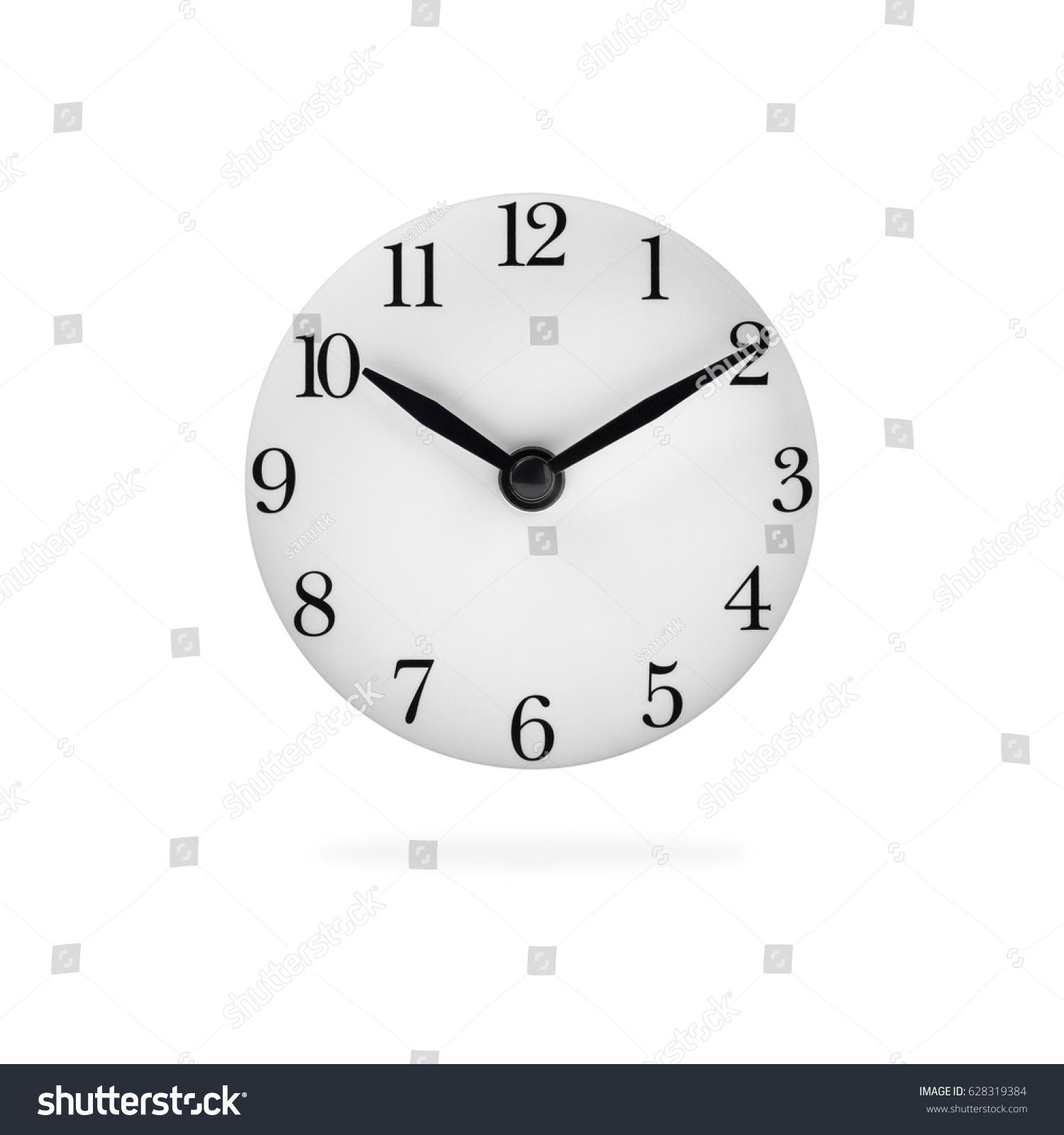 Analog Clock Face Isolated On White Stock Photo (Edit Now