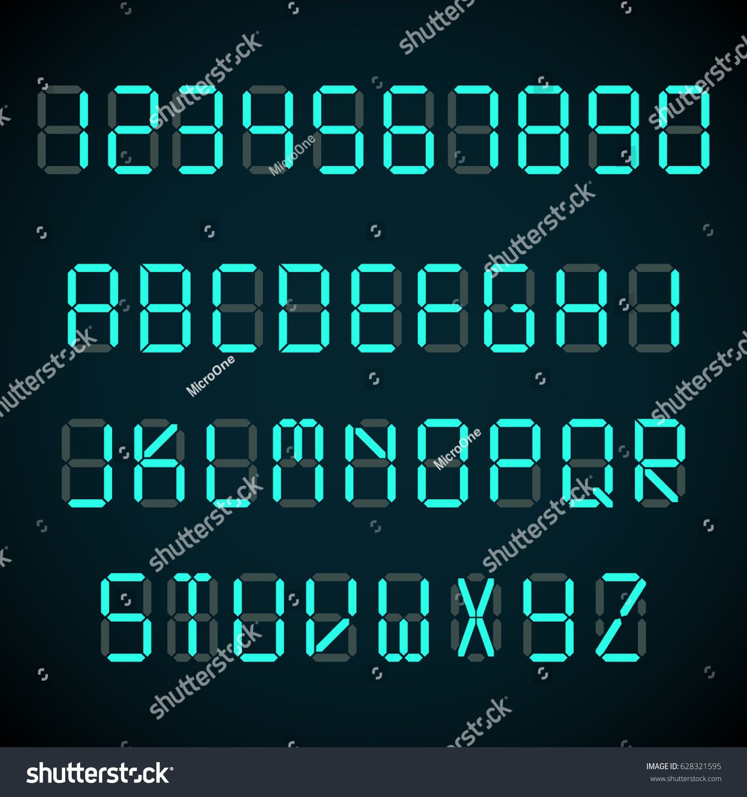 Digital Font Alarm Clock Letters Numbers Stock Vector