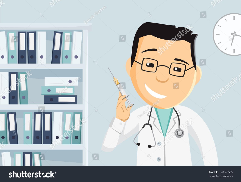 Funny Cartoon Hospital Pics doctor injection hospital penicillin vaccination best stock
