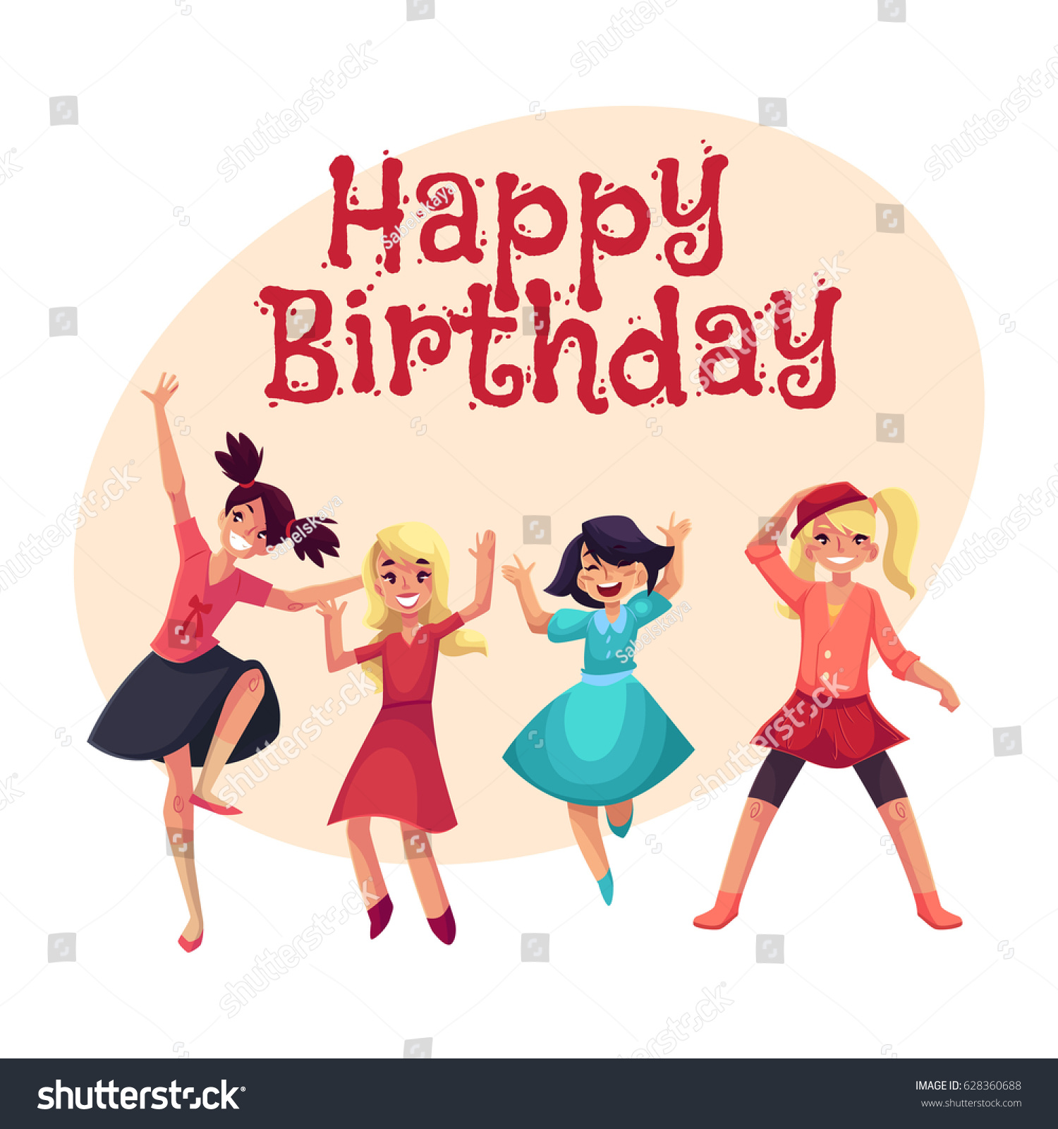Happy Birthday Vector Greeting Card Poster Stock Vector