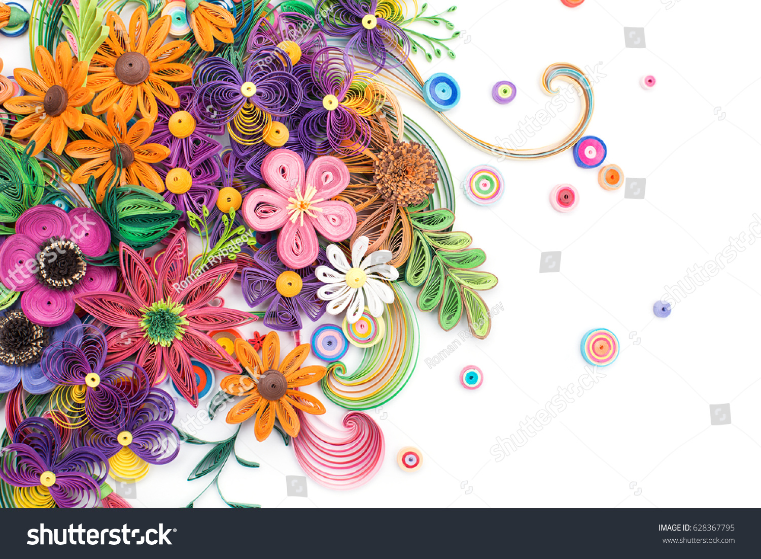 Beautiful Flowers Made Quilling Art Stock Photo Edit Now 628367795