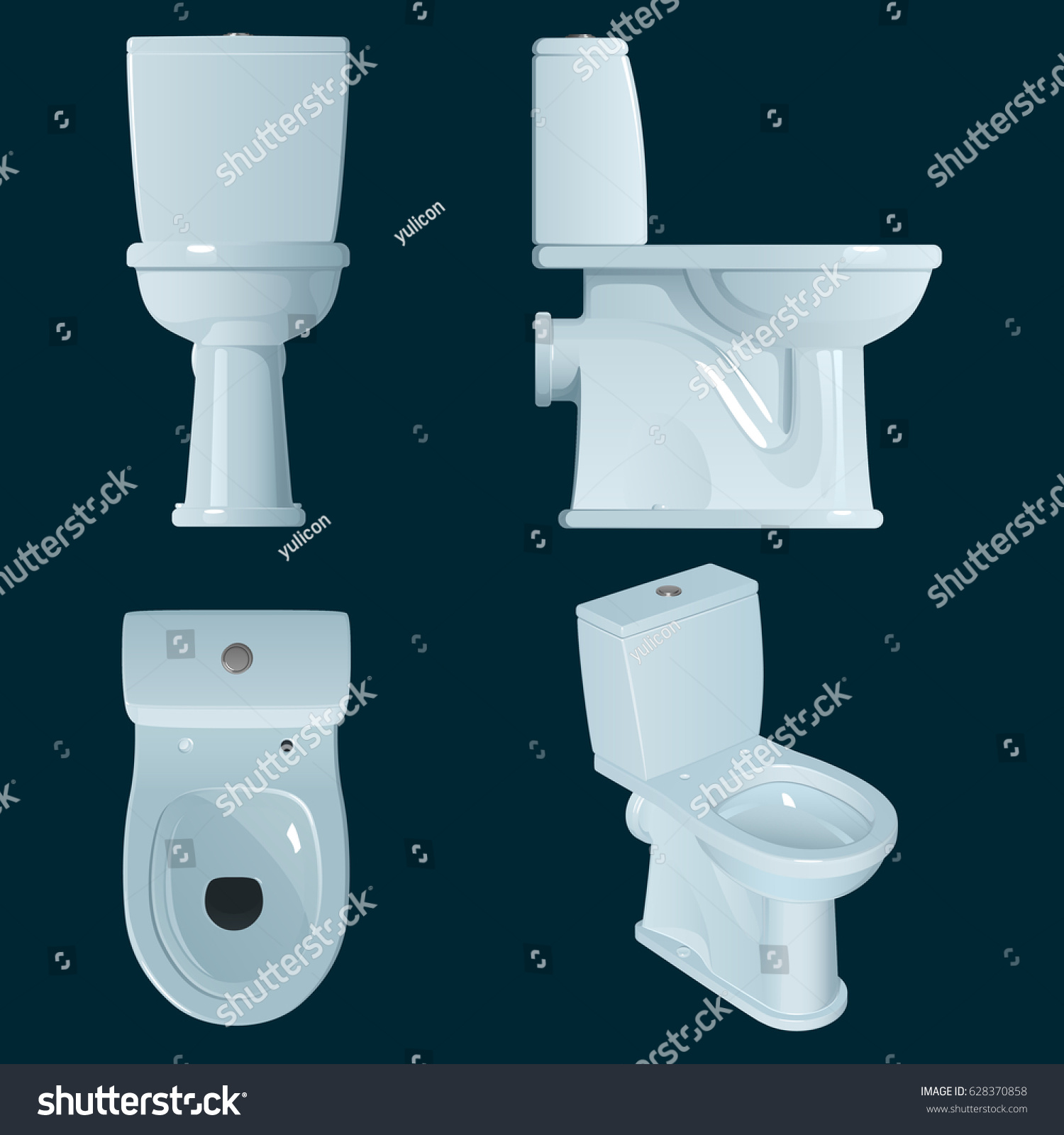 White Porcelain Toilet Bowl On A Dark Blue Background General View And Three Projections