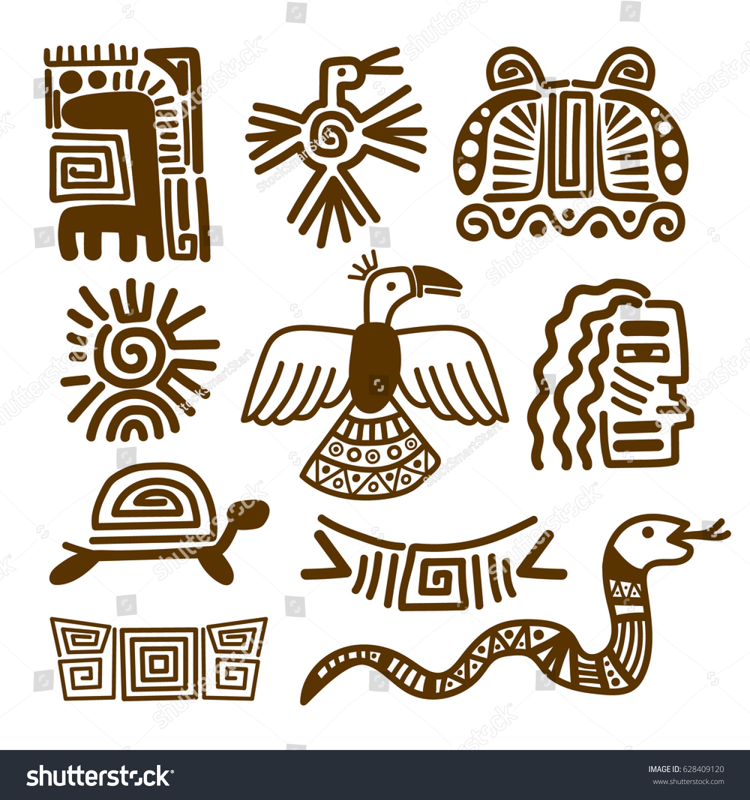 Tribal indian patterns ancient mexican symbols stock vector tribal indian patterns or ancient mexican symbols vector illustration buycottarizona Choice Image