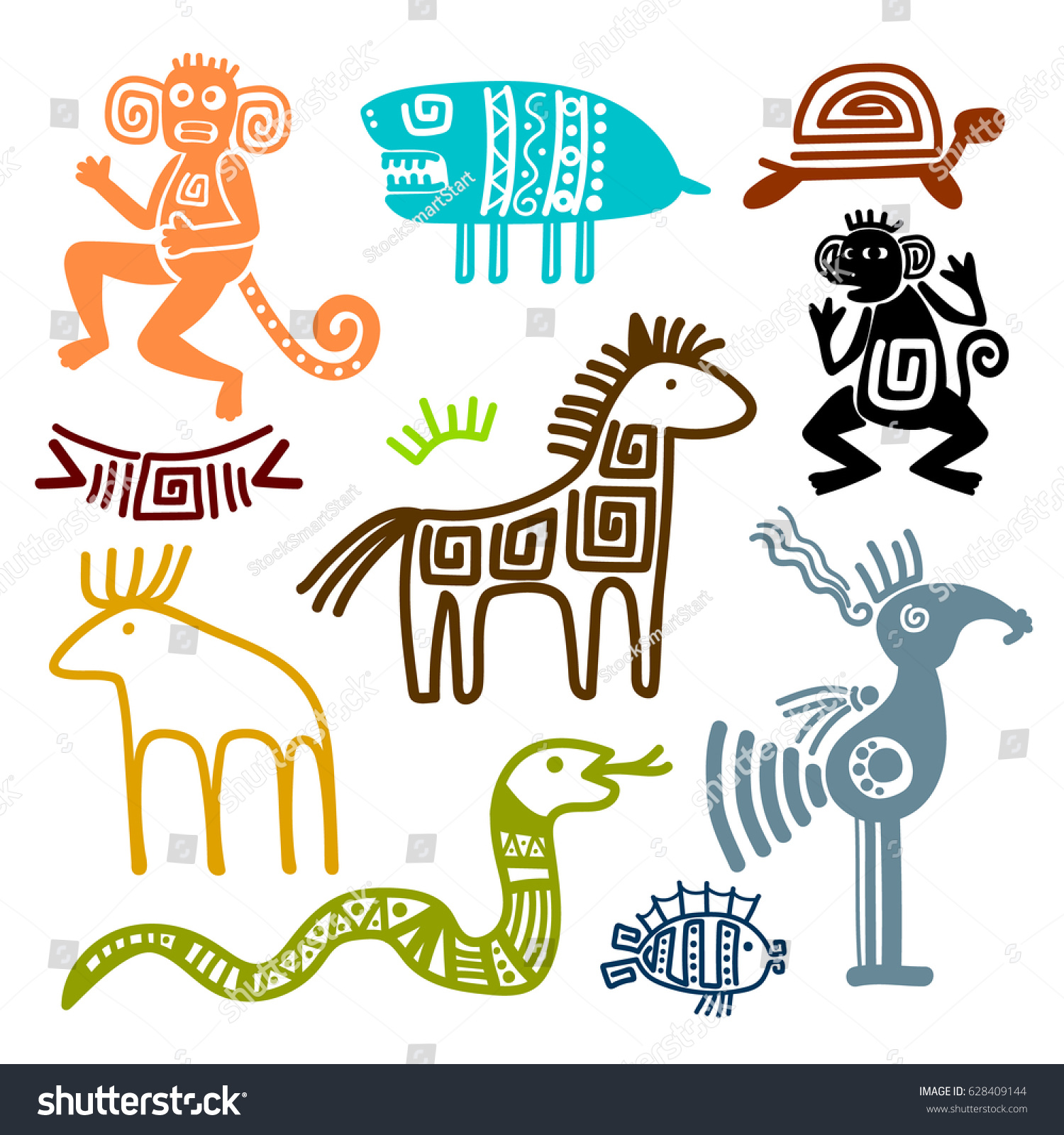 Aztec maya ancient animal symbols isolated stock vector 628409144 aztec and maya ancient animal symbols isolated on white background inca indians culture patterns vector biocorpaavc Gallery
