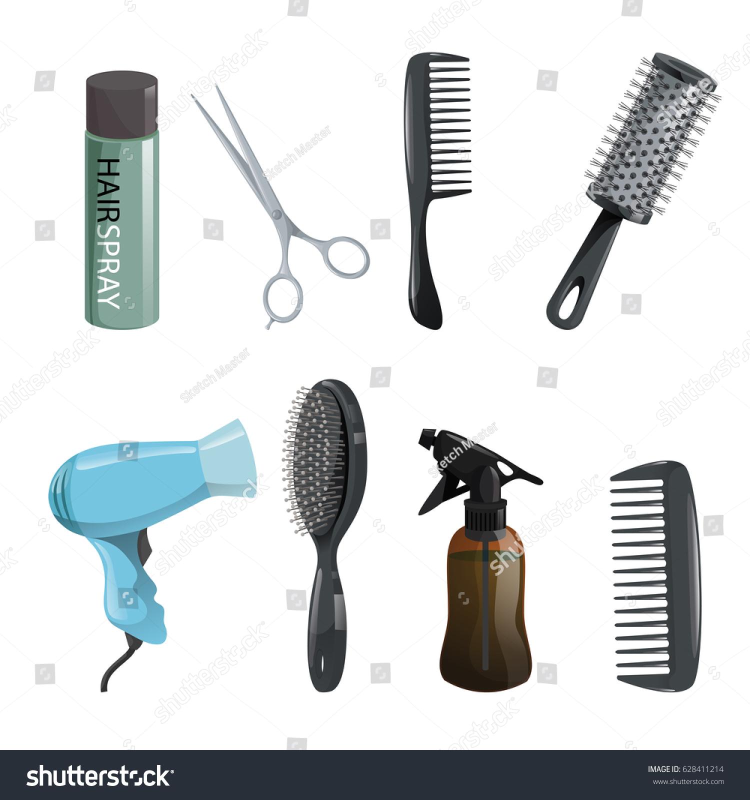 Hair beauty salon equipment set hairspray stock vector for Hair salon tools