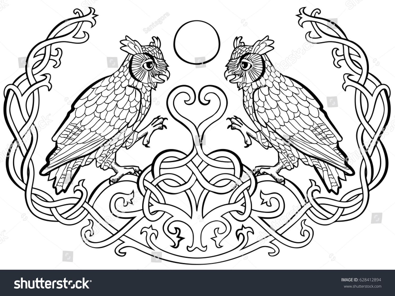 Vector illustration horned owls love celtic stock vector 628412894 vector illustration of horned owls in love celtic ornament black and white symbol of wisdom buycottarizona