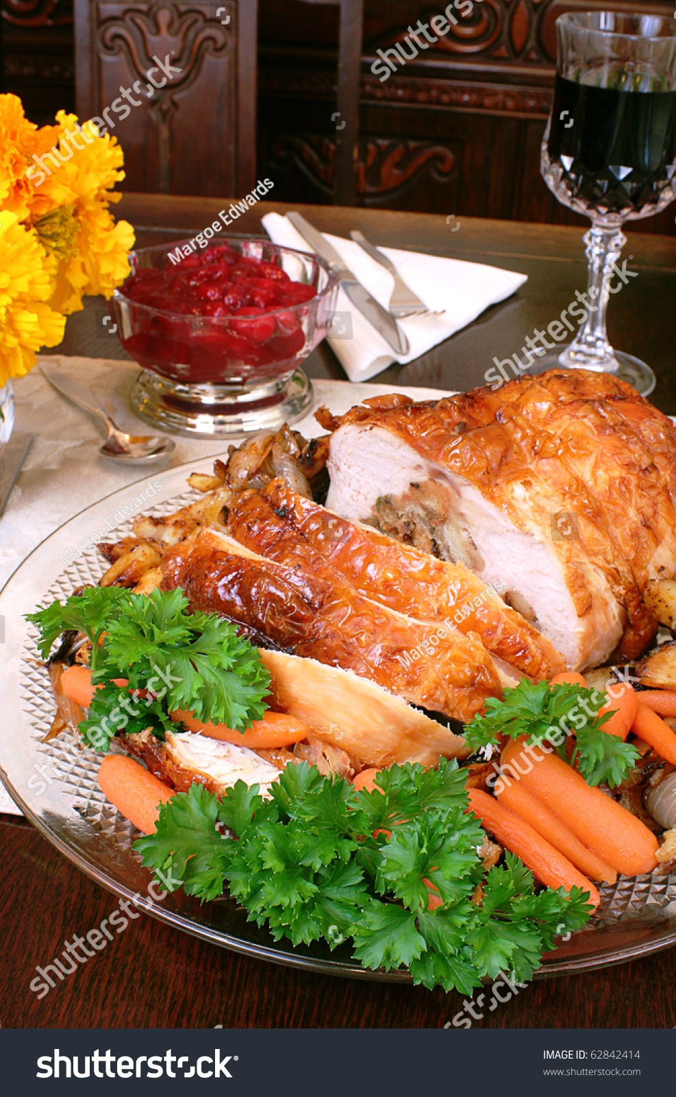 turkey dinner all trimmings thanksgiving christmas stock
