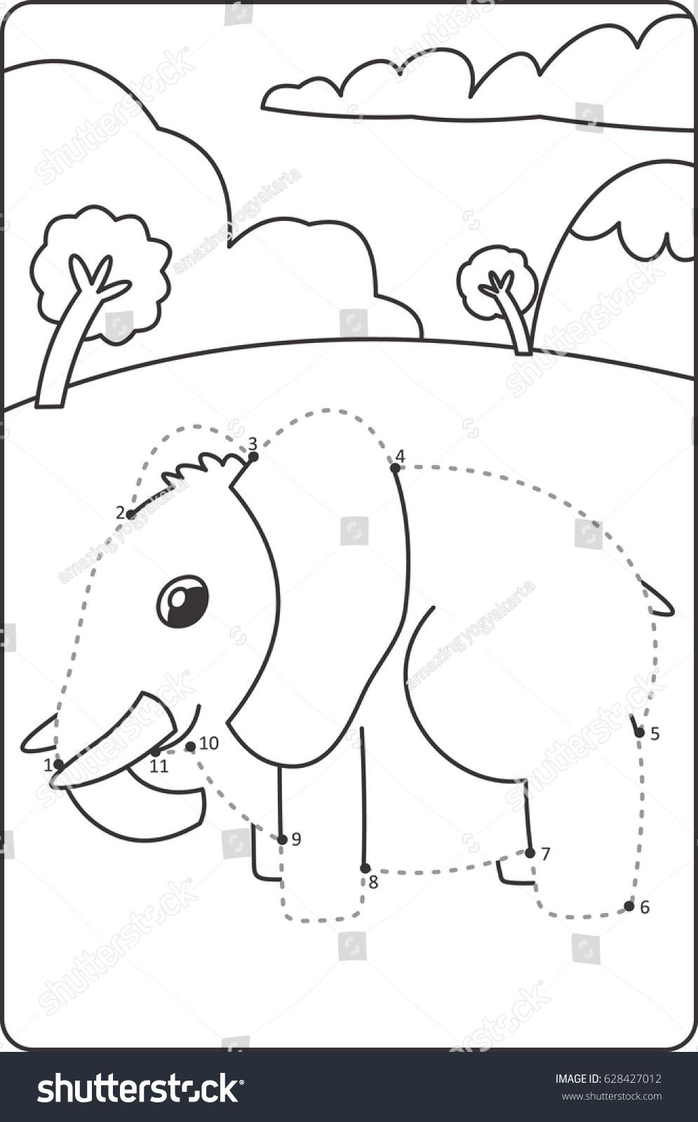 Dot Dot Drawing Elephant Children How Stock Vector Royalty Free