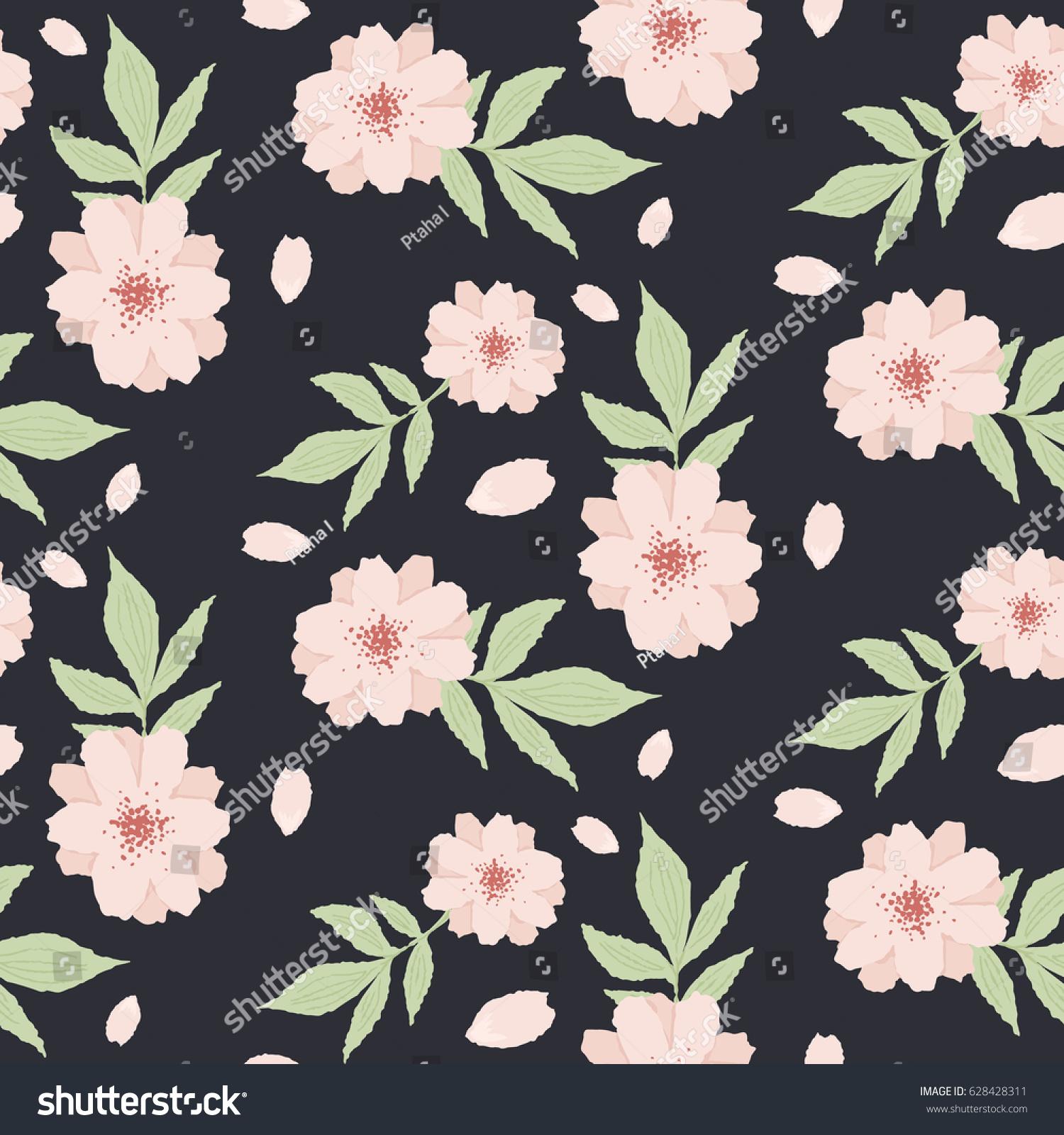 Delicate pink flowers wallpaper seamless pattern stock vector delicate pink flowers wallpaper seamless pattern on a black background mightylinksfo