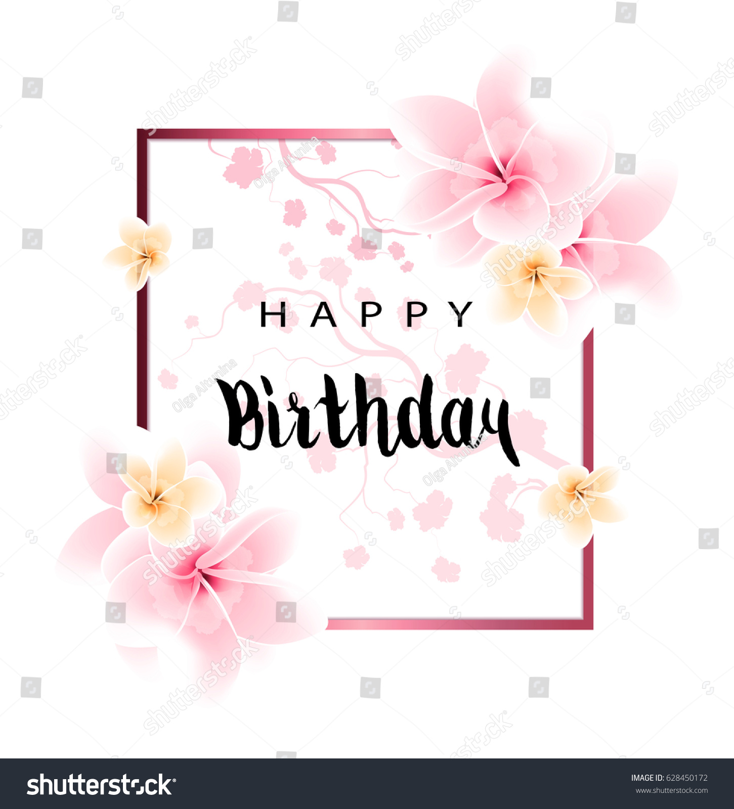 Abstract design happy birthday card flowers stock illustration abstract design happy birthday card with flowers and congratulation izmirmasajfo