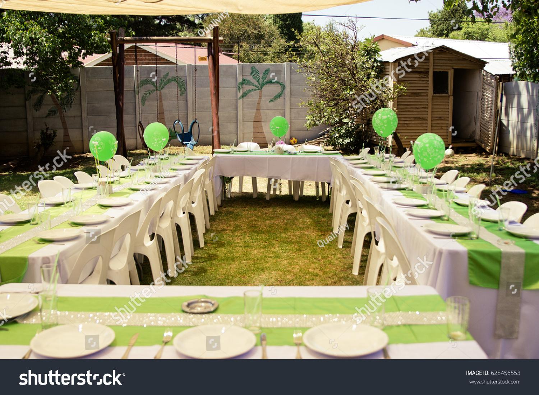Birthday Party Table Setup Green Balloons Stock Photo Edit Now