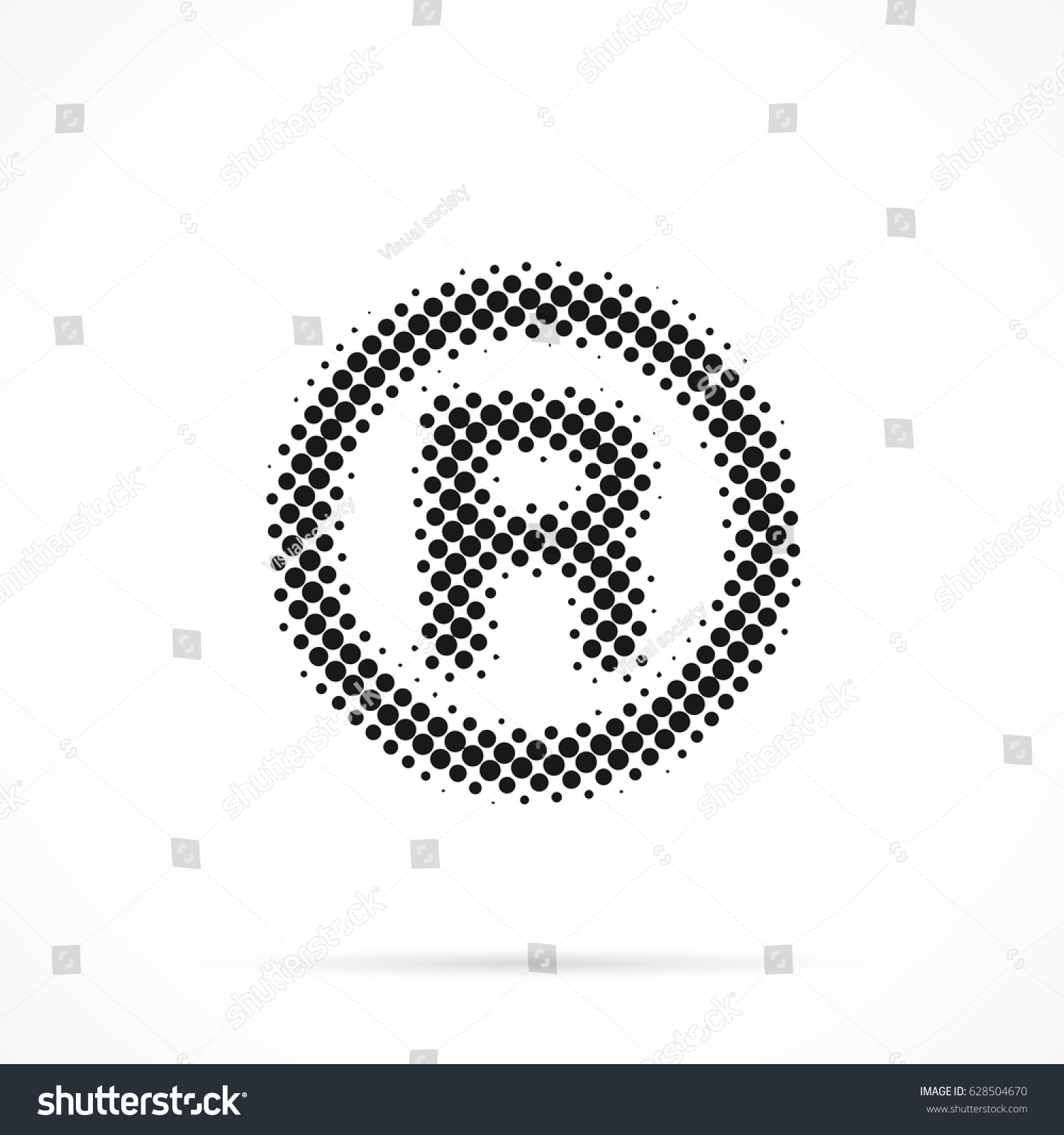 R Registered Trademark Symbol Halftone Dotted Stock Vector Royalty