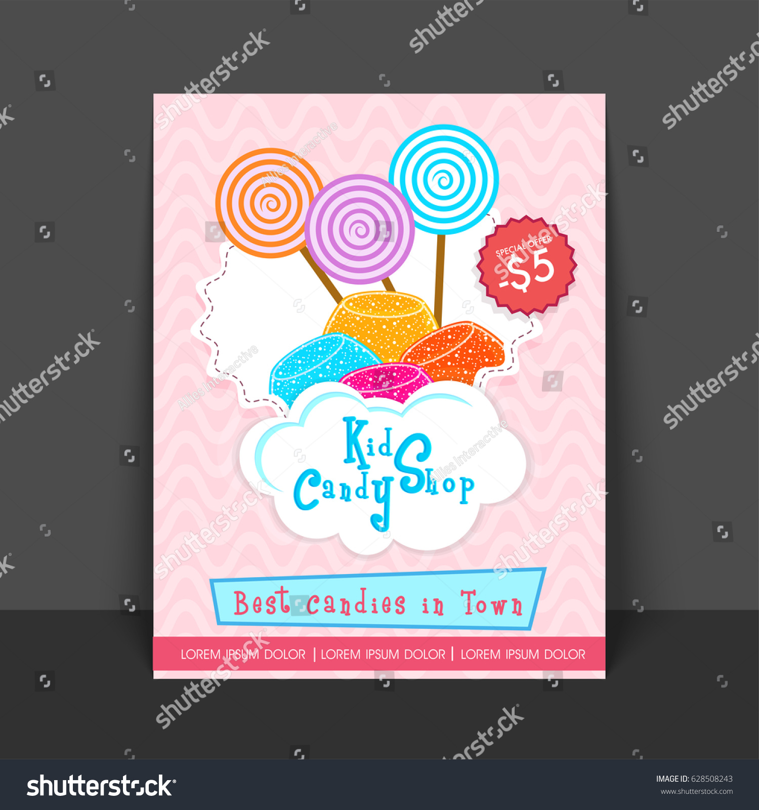 candy shop template flyer price card stock vector royalty free