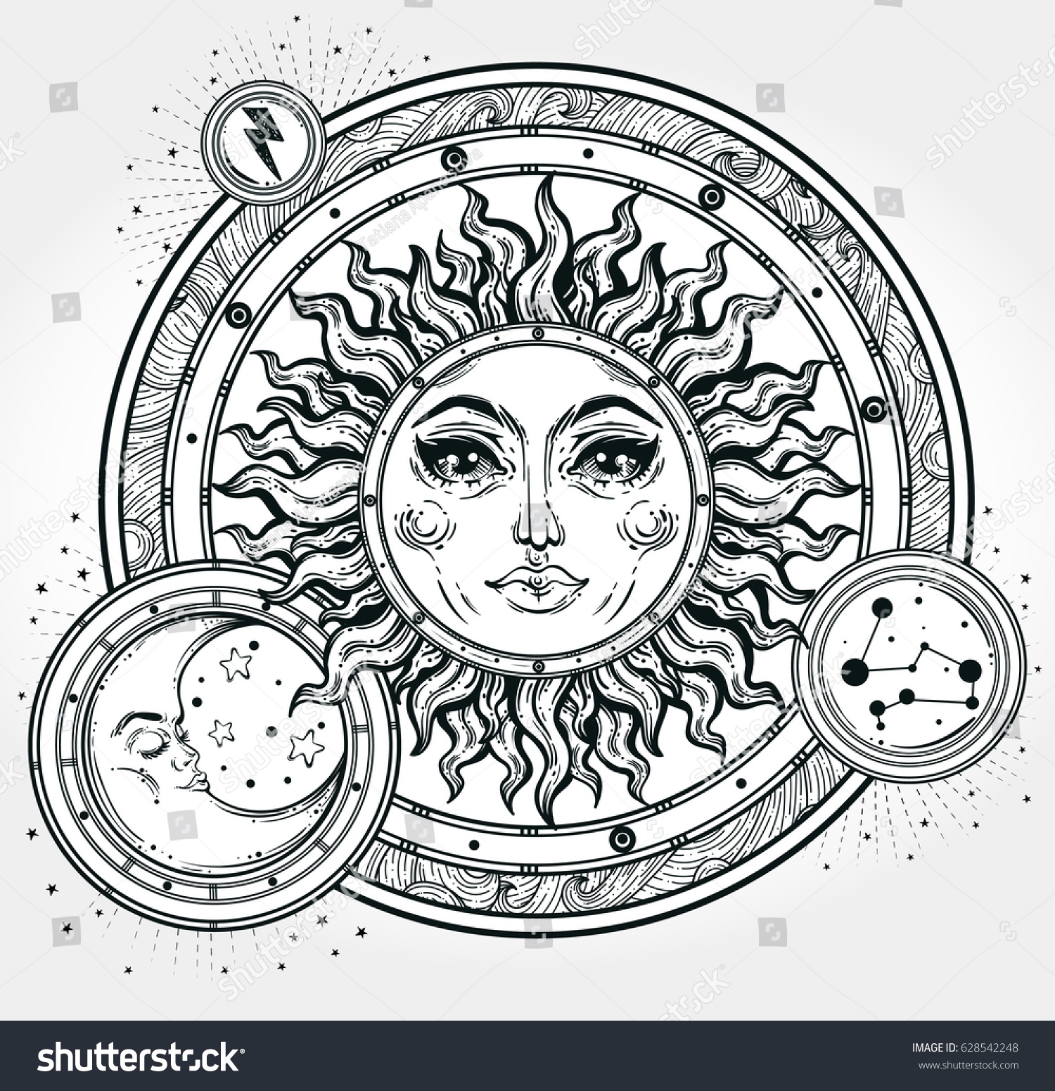 Vintage Hand Drawn Sun Moon Night Sky Vector For Coloring Book T