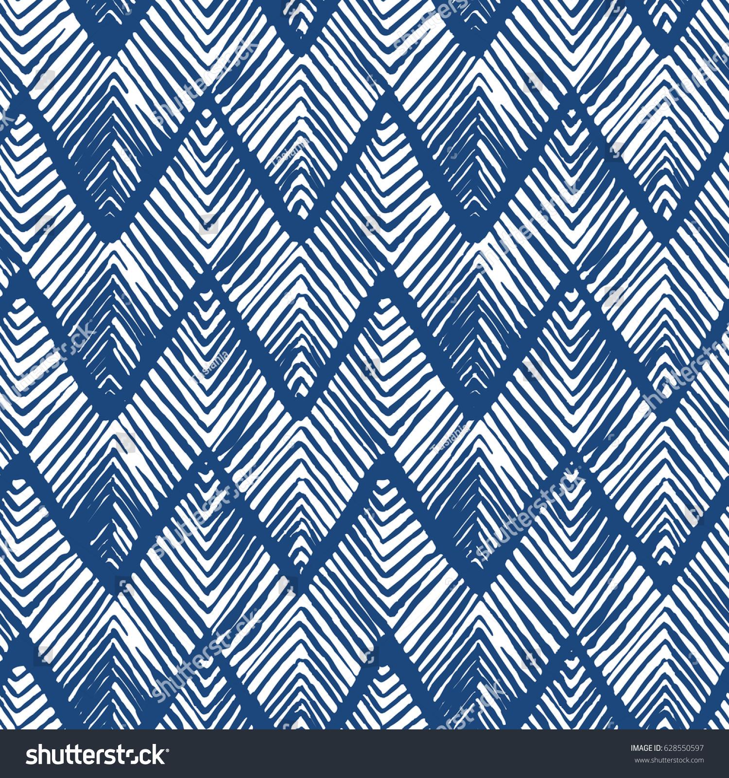 shibori zig zag indigo triangles print image vectorielle de stock