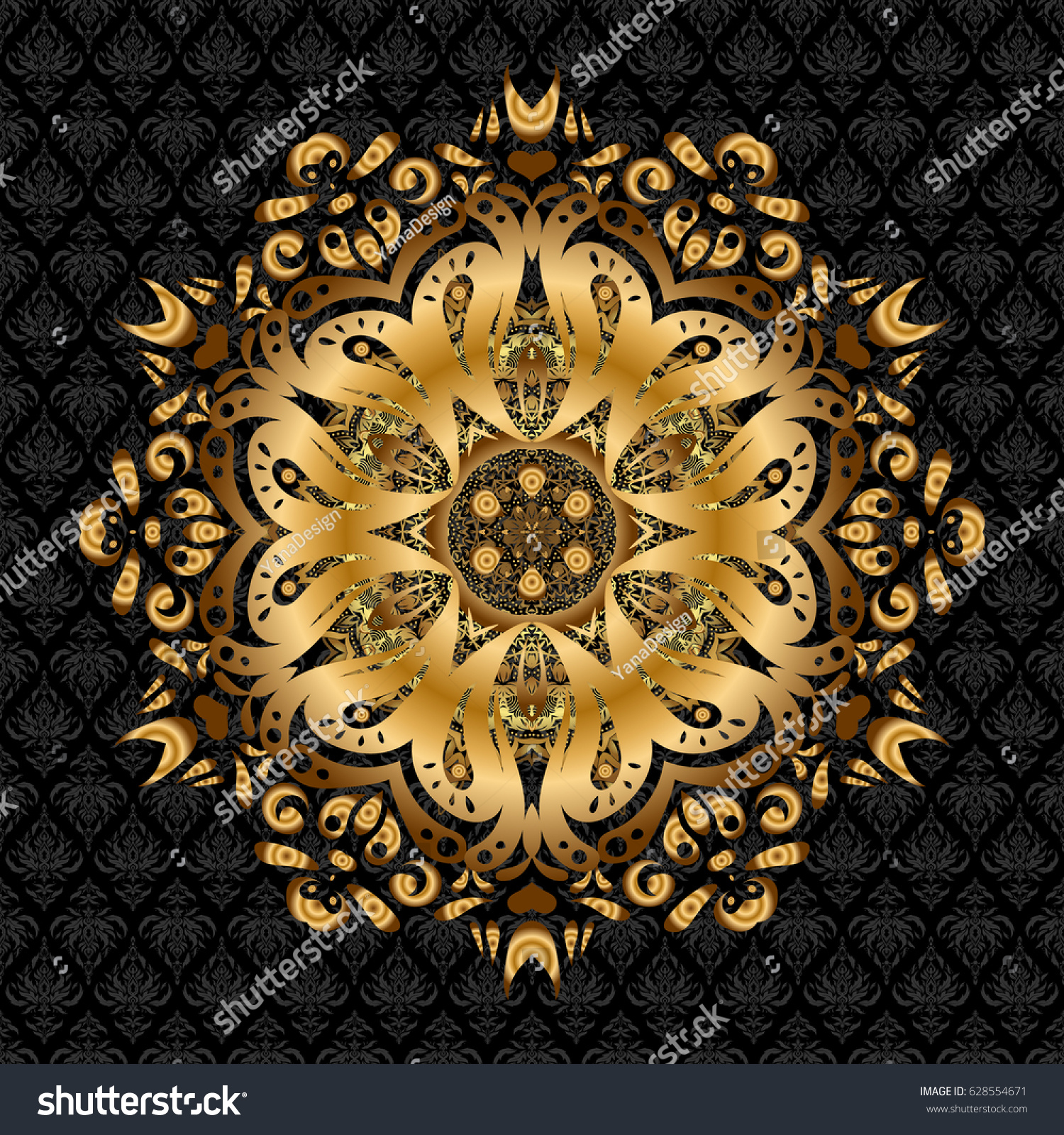 Islamic Gold Mandala Round Ornament Stock Vektorgrafik