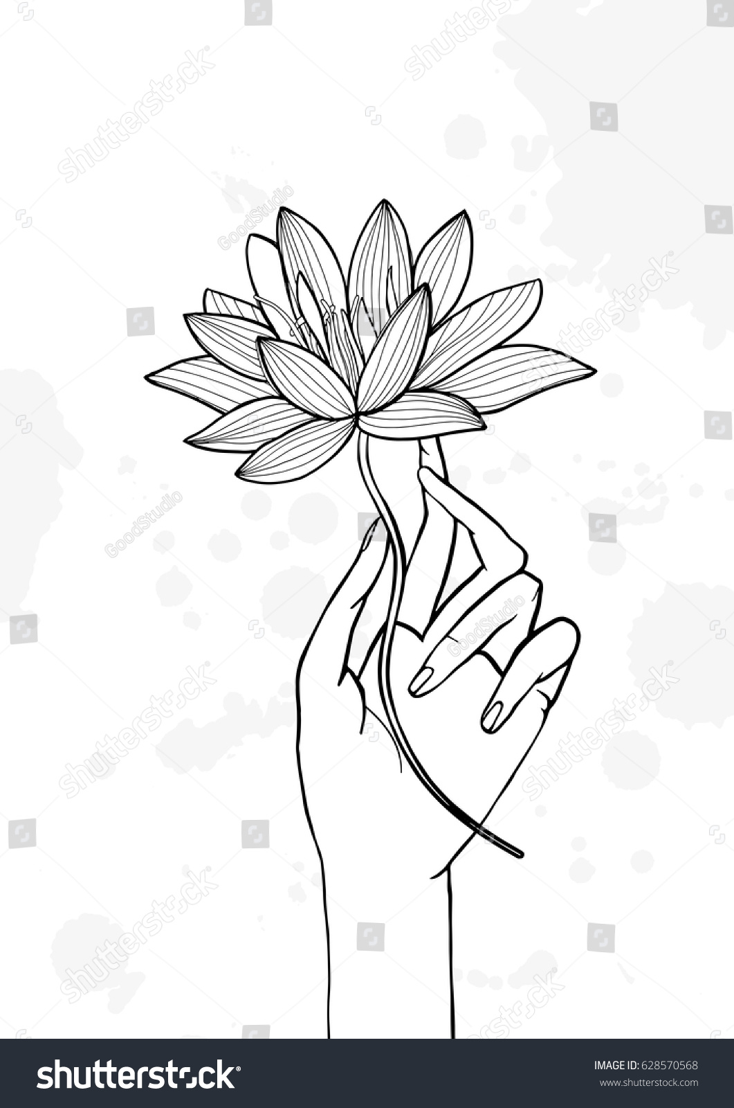Hand Holding Lotus Flower Contour Hand Stock Vector Royalty Free
