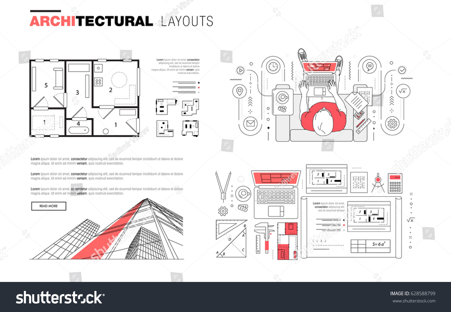 Architectural Layouts Trendy Polygonal Line Composition Stock Stock Vector Architectural  Layouts In Trendy Polygonal Line Composition