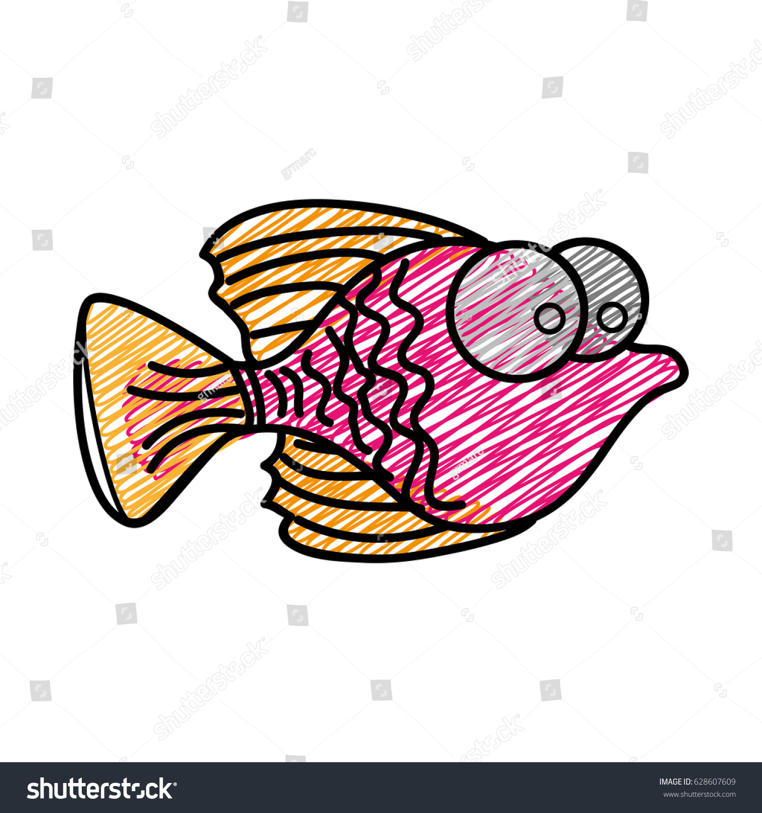 Color pencil drawing of small fish with big eyes vector illustration