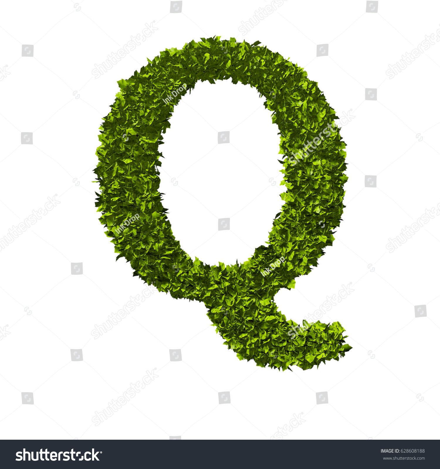 Letter Q Alphabet Nature Leaf Font Stock Illustration 628608188