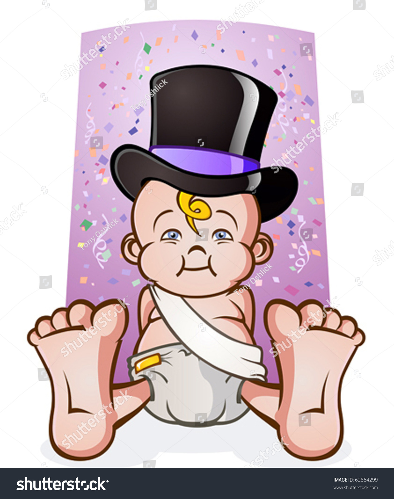 Cute New Years Eve Baby Cartoon Character In A Top Hat ...