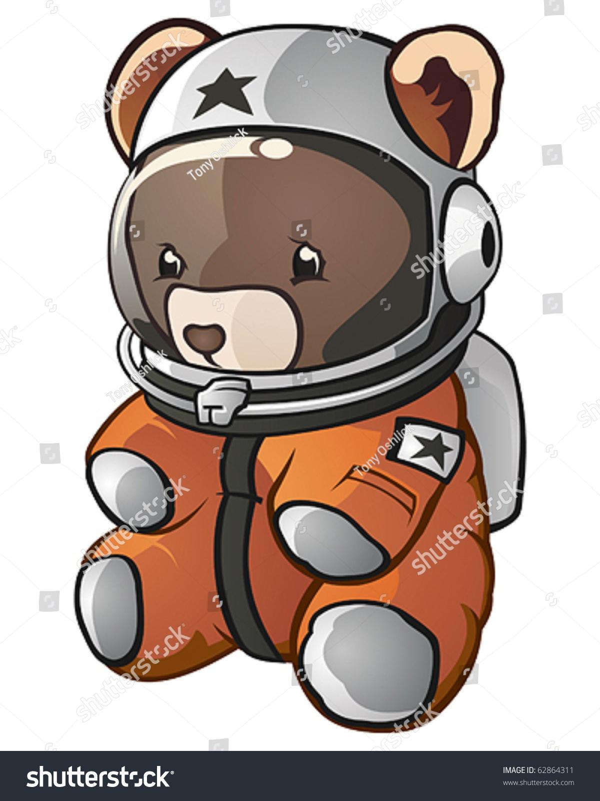 teddy bear space astronaut cartoon character stock vector 62864311