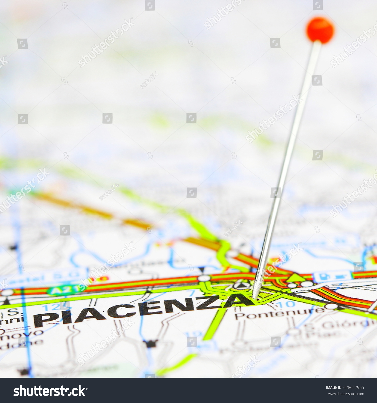 Route Map Piacenza Italy Stock Photo Edit Now 628647965 Shutterstock