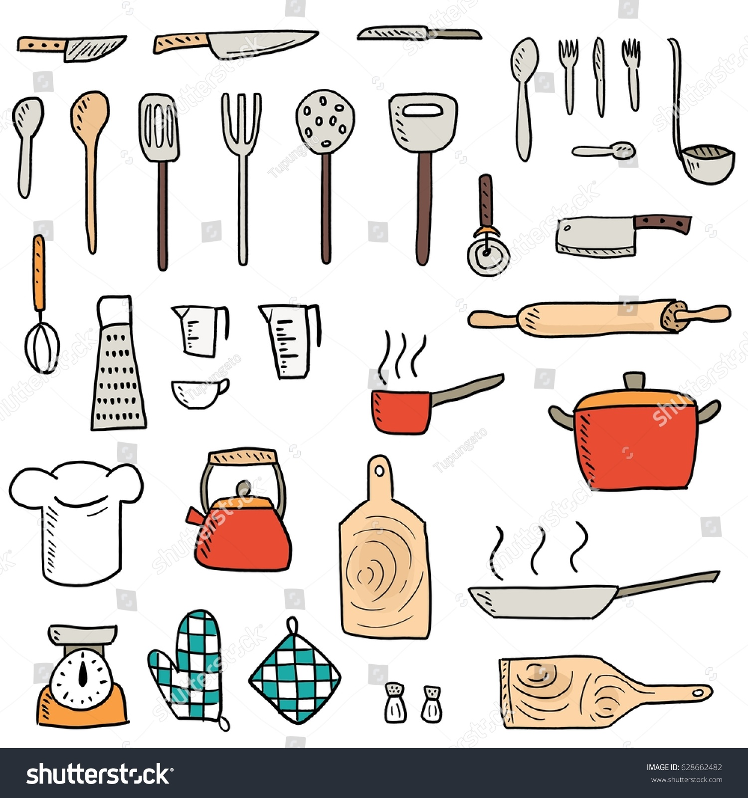 Kitchenware Icons Vector Set Cute Kitchen Stock Vector 628662482 ...