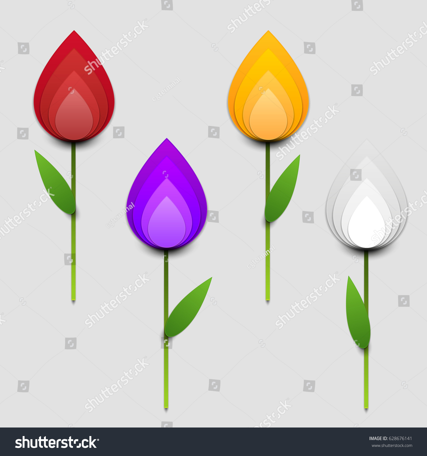 paper cut cartoon colorful tulips realistic stock vector 628676141