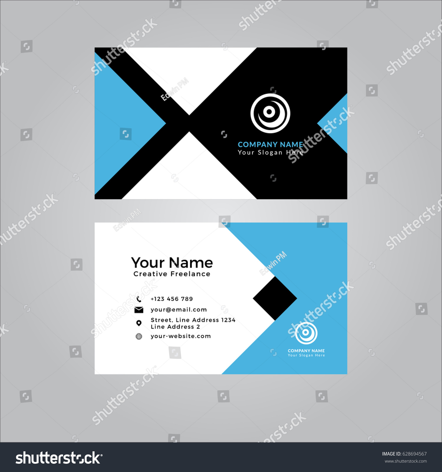 business card template clean modern stock vector