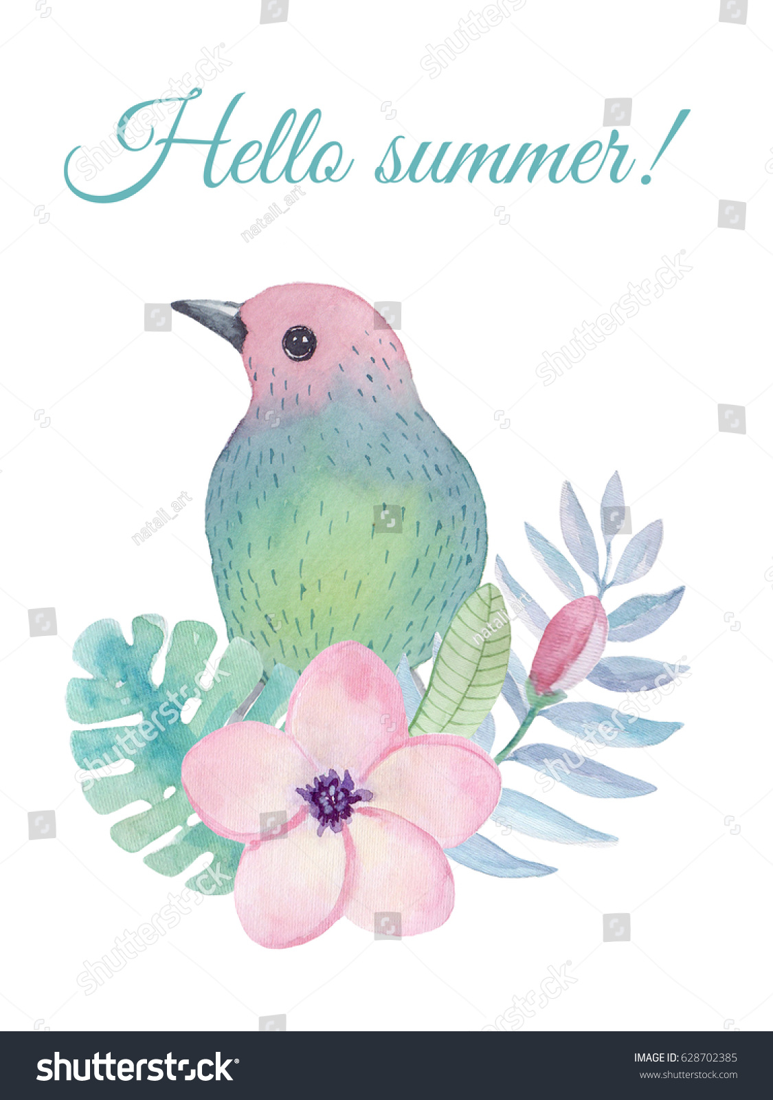 Watercolor Greeting Card Tropical Birds Flowers Stock Illustration